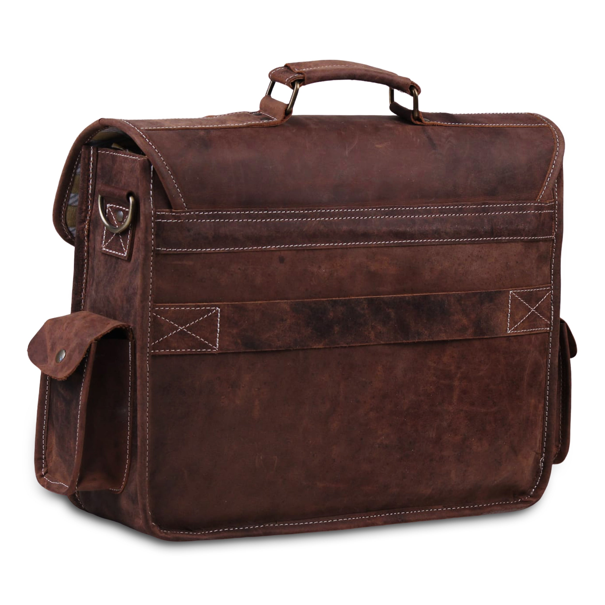 Genuine Full Grain Brown Leather 16 inch Large Briefcase Laptop bag by Hulsh