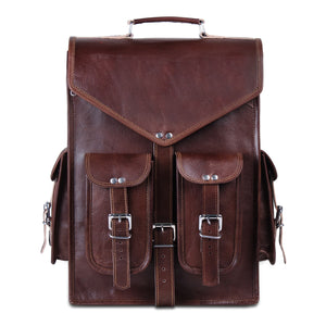 Brown Convertible Leather Backpack
