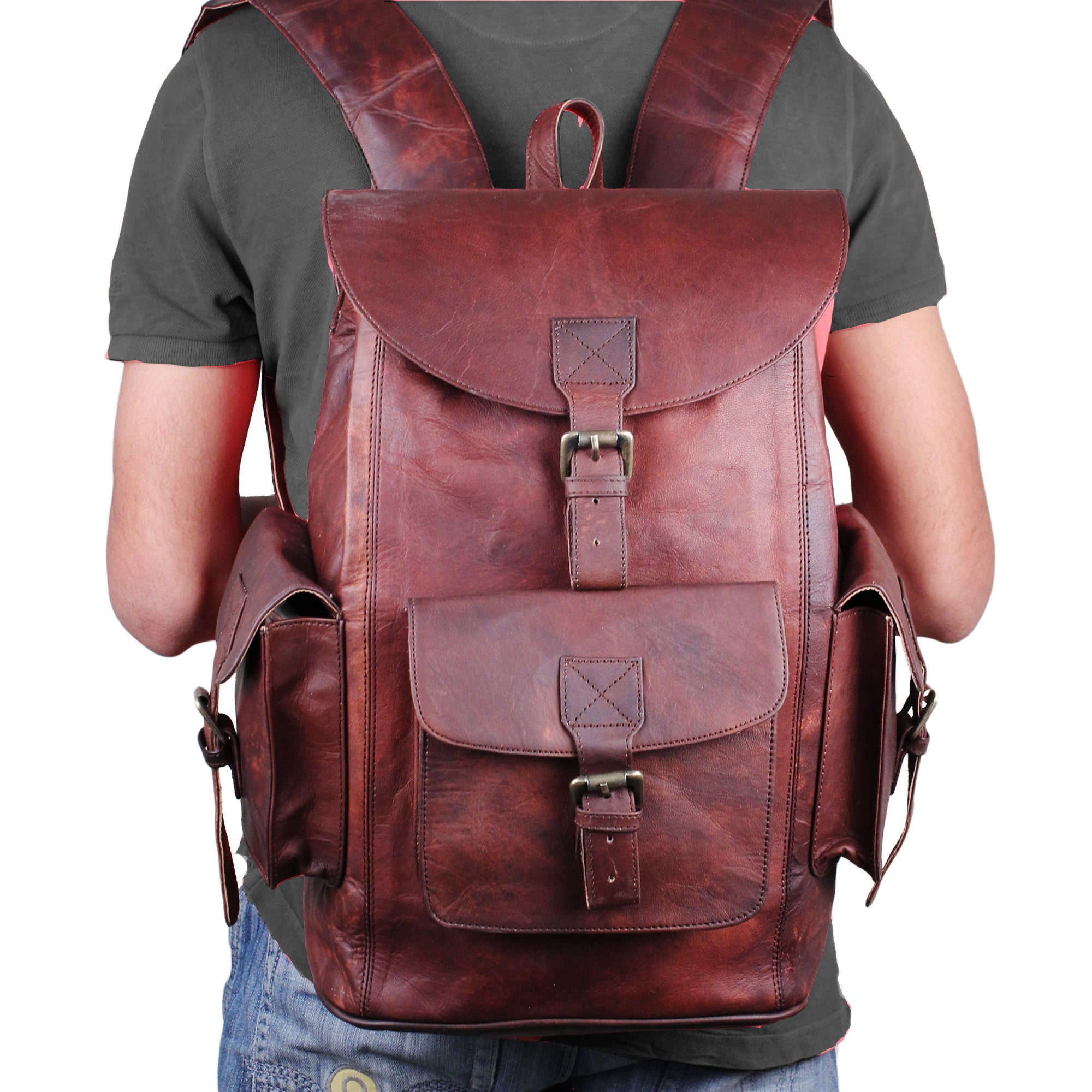 Large Leather Messenger Backpack with multiple Pockets and Padded Strap