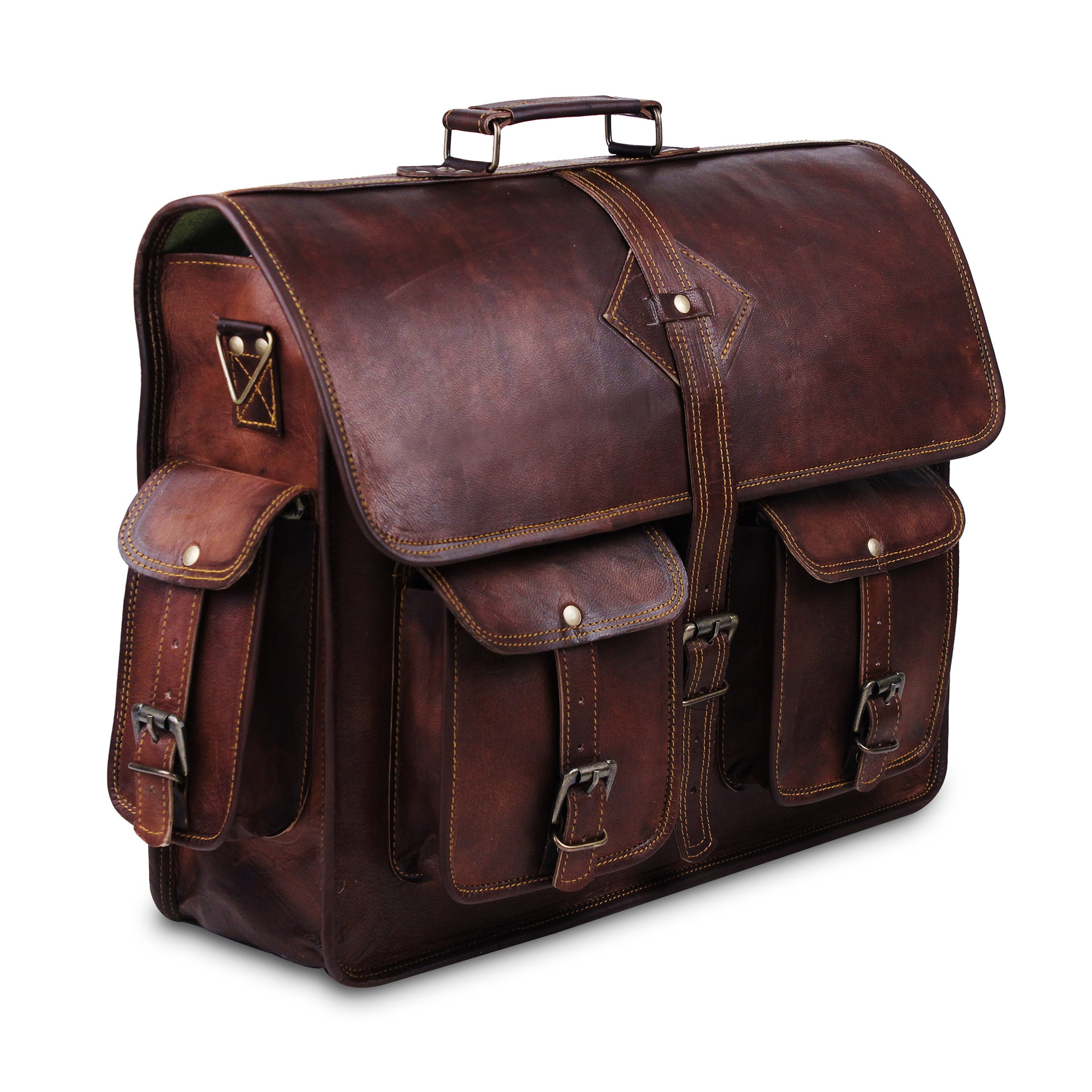 Full Grain Large Messenger Bag with Top Handle