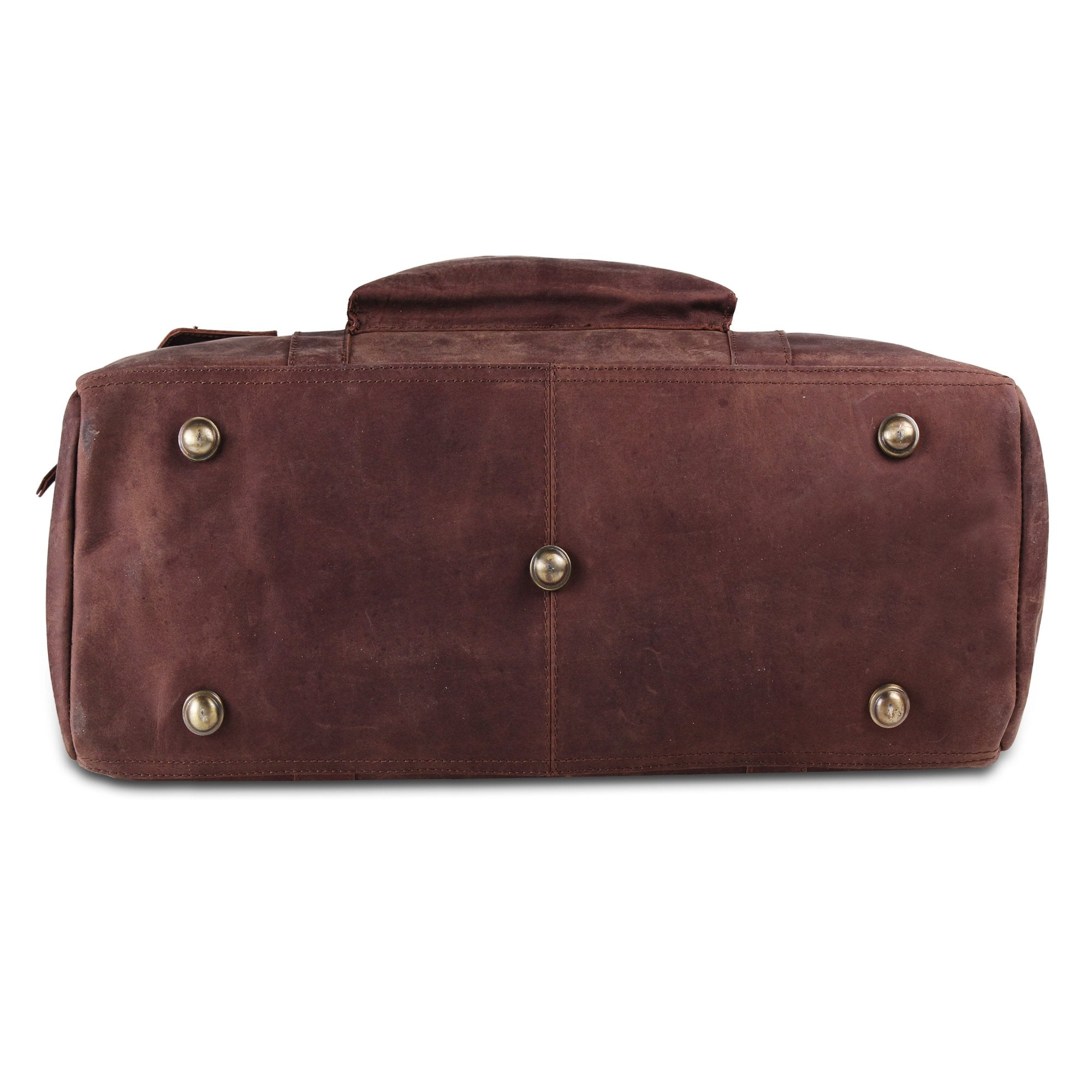 Full Grain Leather Duffle Bag with Large external Pocket and Top Handle for men's