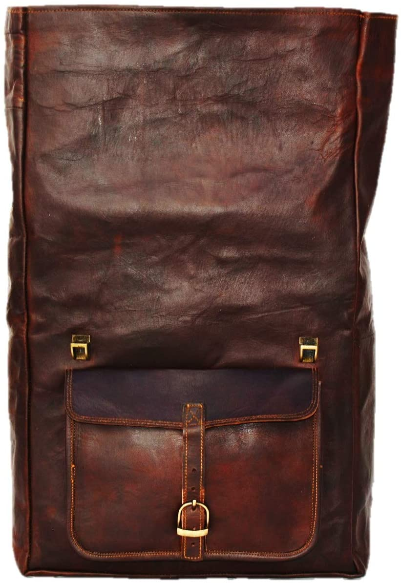 Extra Large Brown Leather Backpack by Hulsh