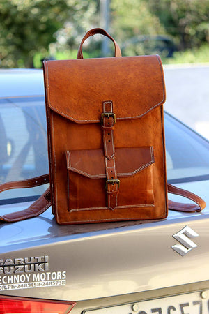 Leather Backpack Bag with Top Handle