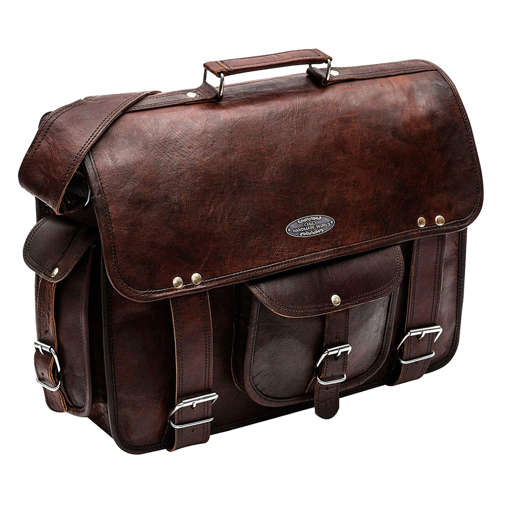Genuine Full Grain Leather Messenger Laptop Bag for men