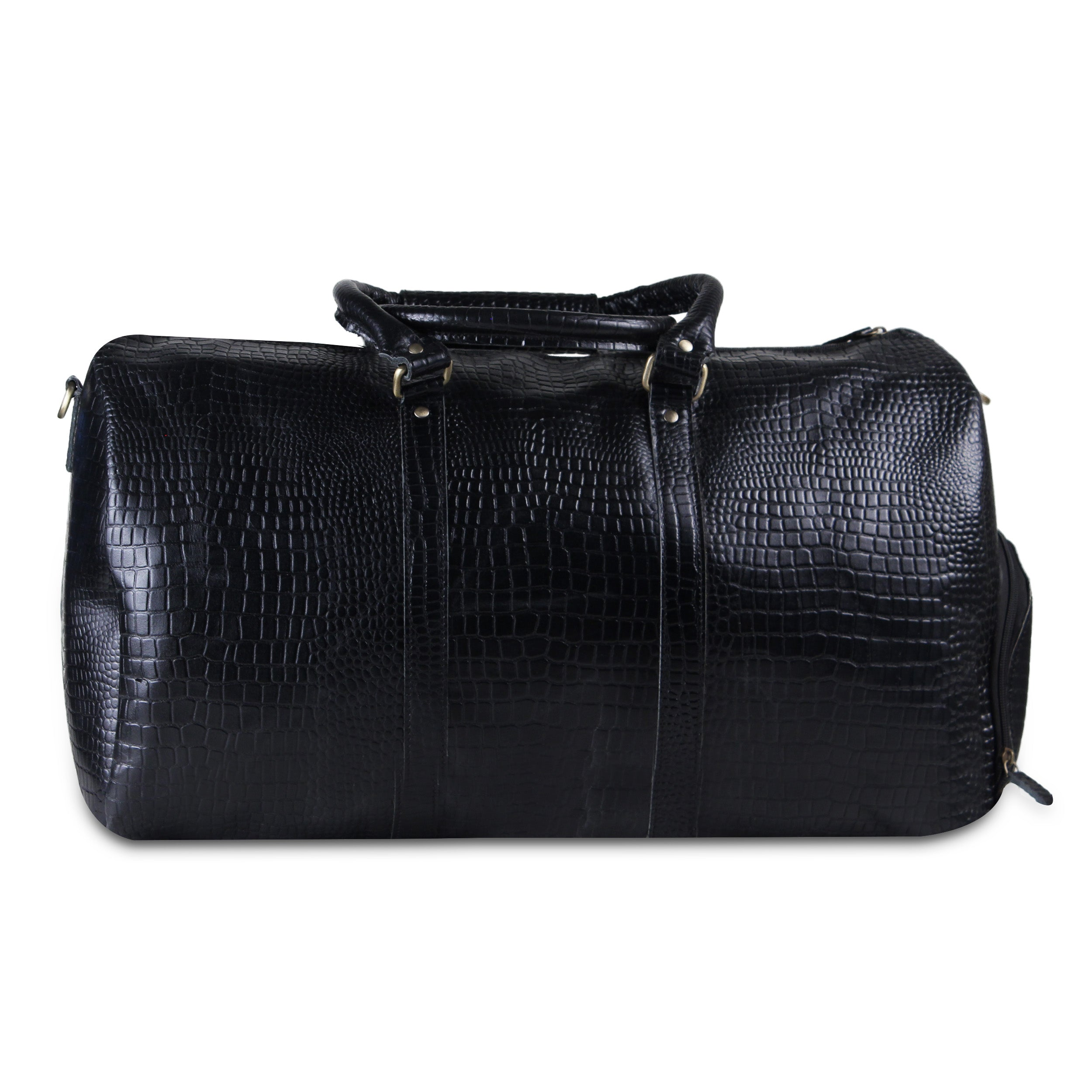 Black Leather Duffle Weekender Overnight Gym Sports Bag By Hulsh