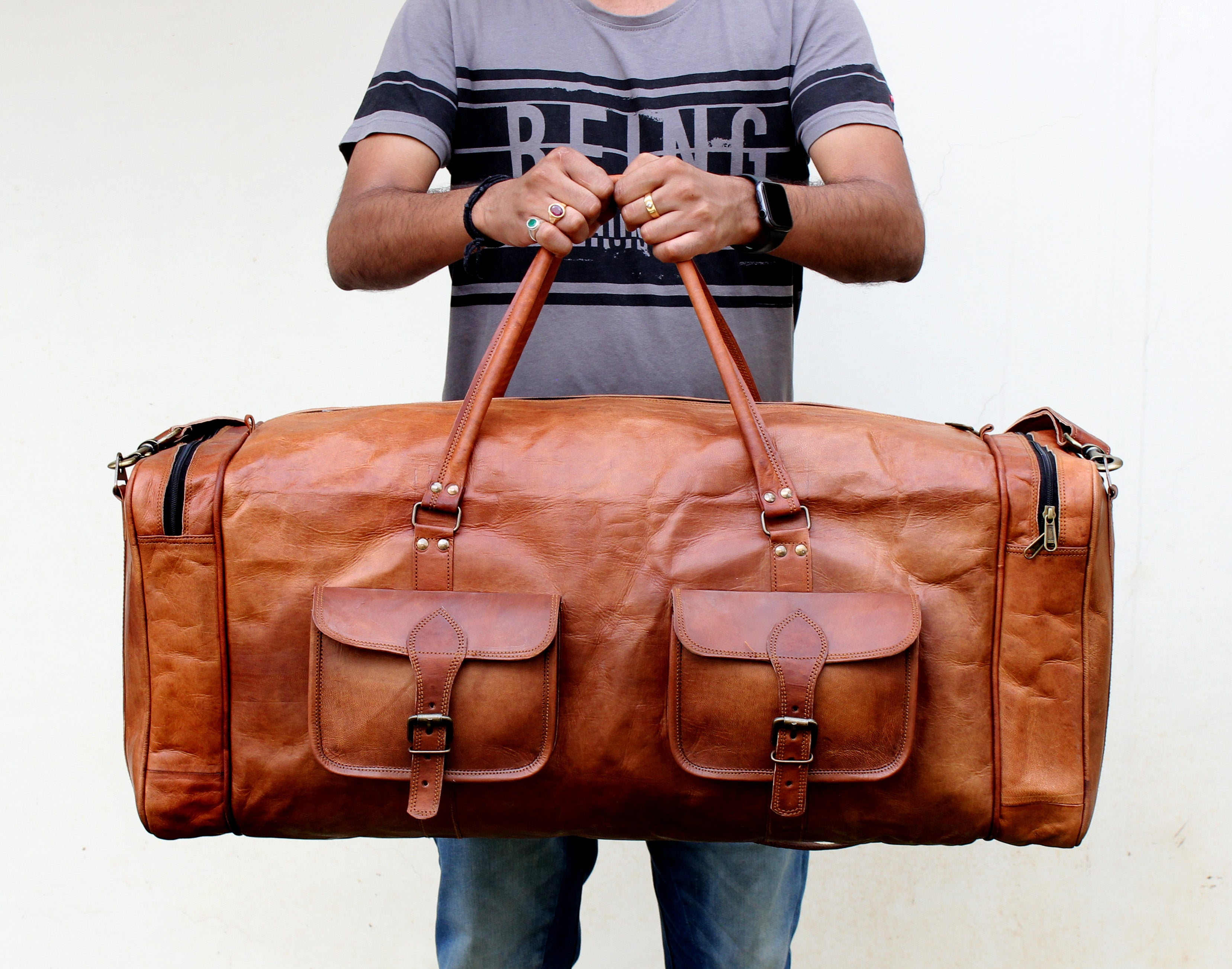 Large leather Travel Weekender Overnight bag by Hulsh