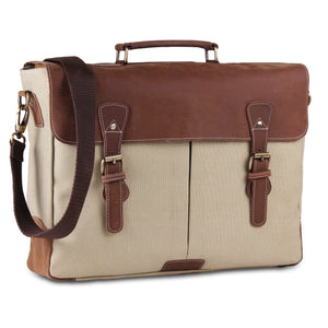Genuine Leather Messenger Laptop Briefcase Bag with Top Handle and Adjustable strap Cream