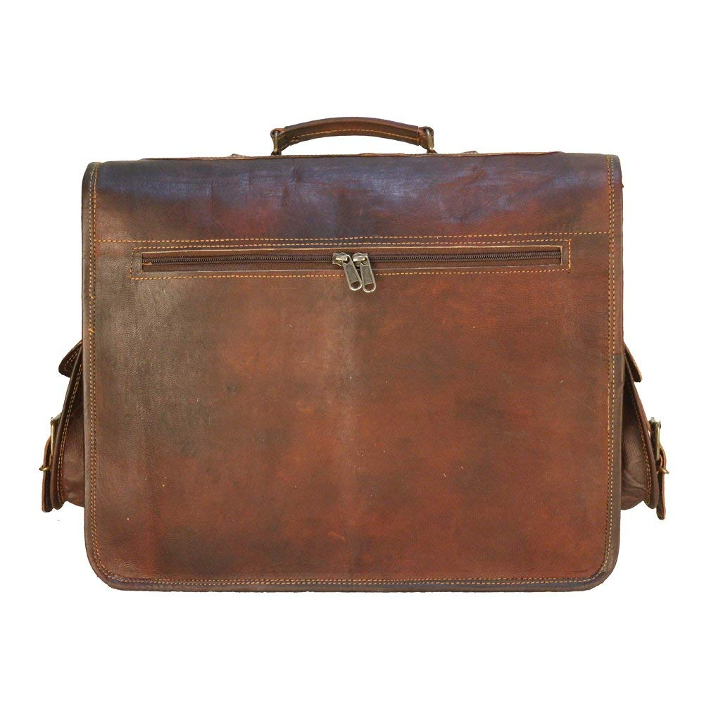 Top Handle Brown Leather Bag with Top Handle and Side Pockets
