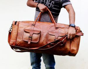 Large Leather Brown Duffle bag by Hulsh