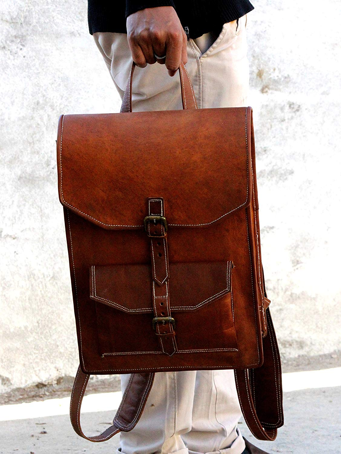 Vintage Brown Leather Backpack by Hulsh