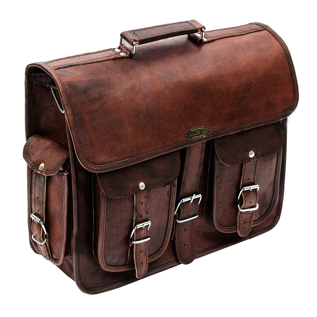 Genuine Leather Messenger Briefcase Laptop Bag with top handle