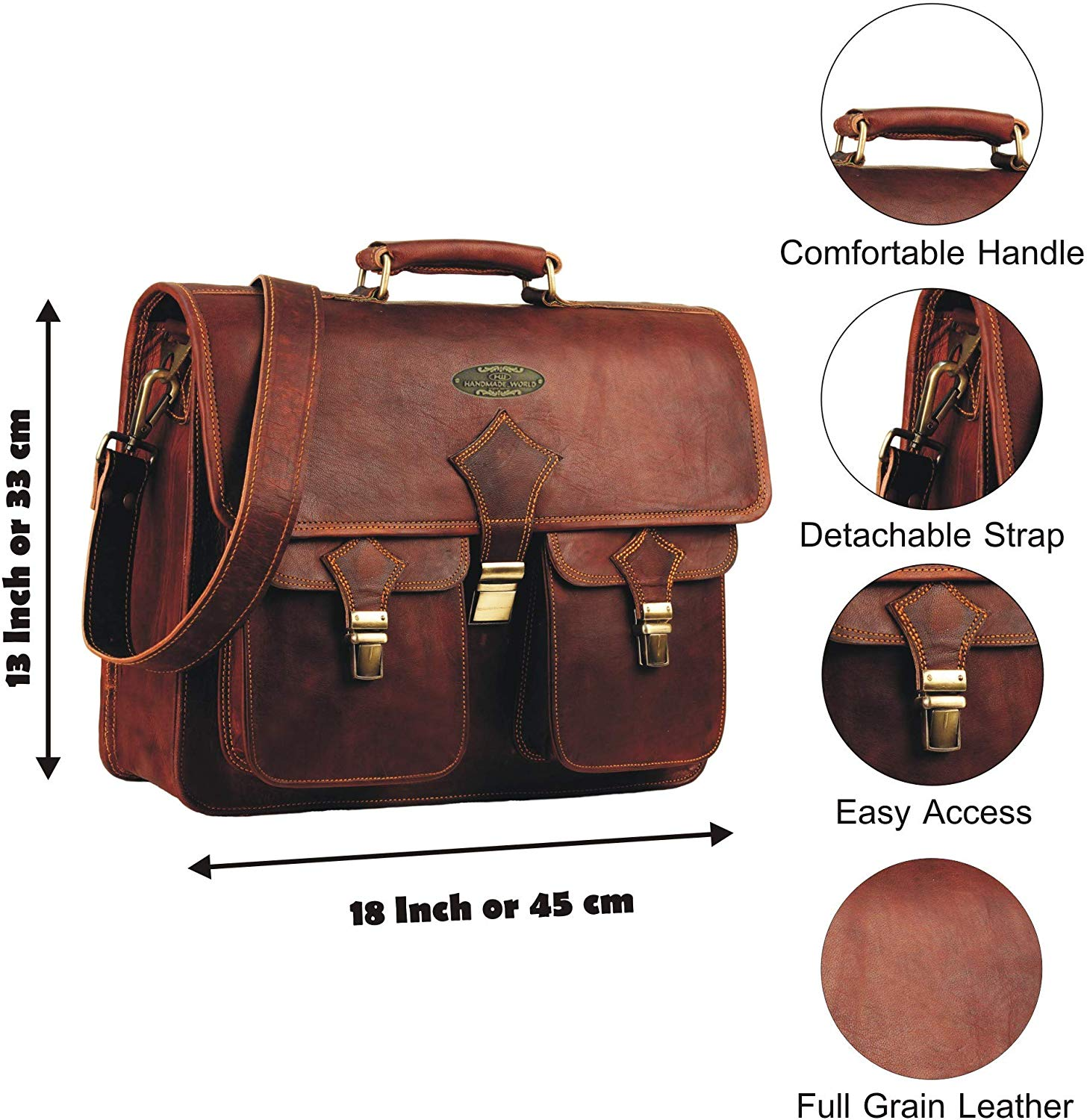 Large Messenger Bag with Adjustable Shoulder Strap and Push Clip
