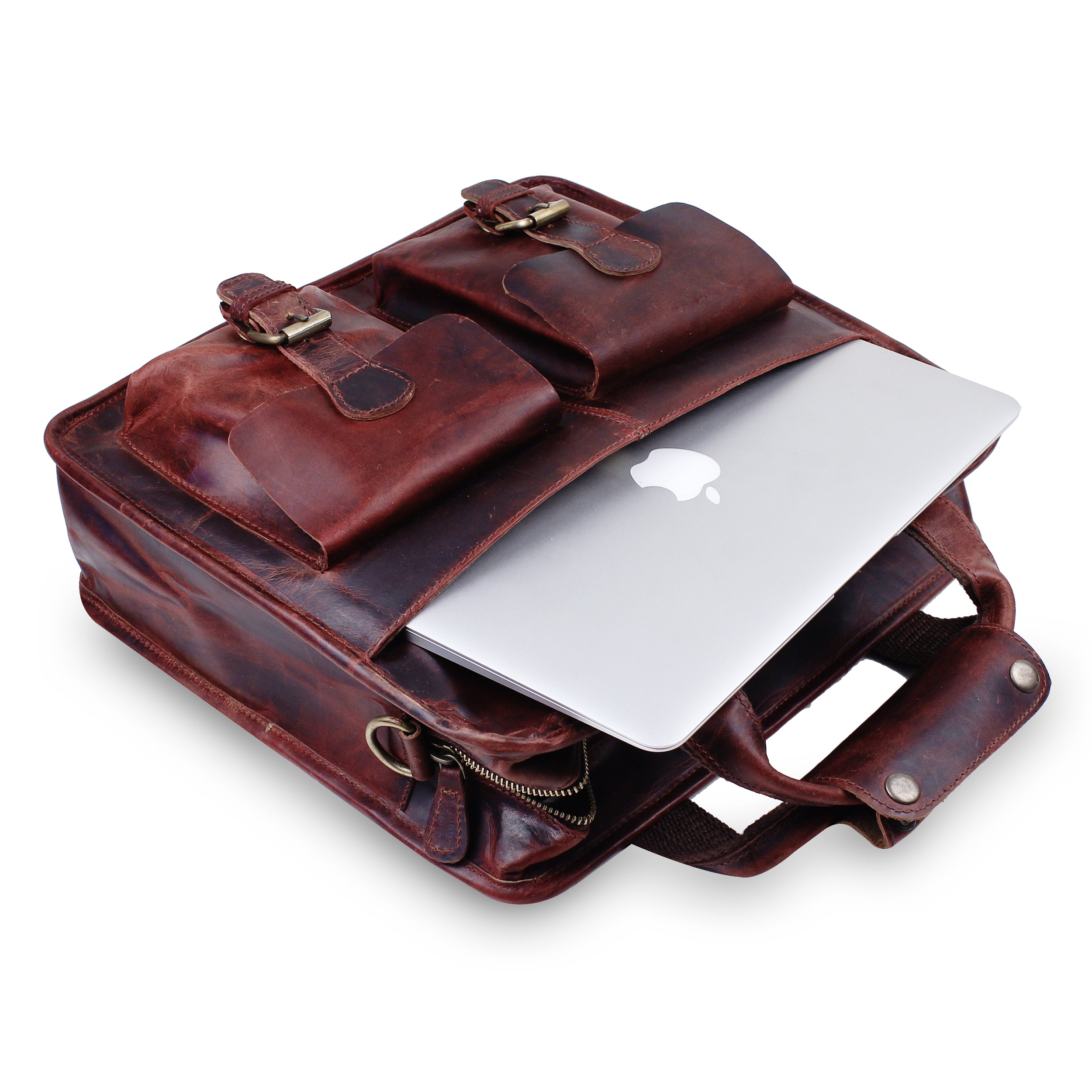 Buffalo Leather Messenger Briefcase Bag with Laptop Padded compartment