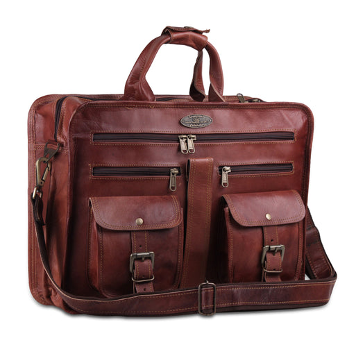 Full Grain Brown Leather Briefcase Bag with Top Handle