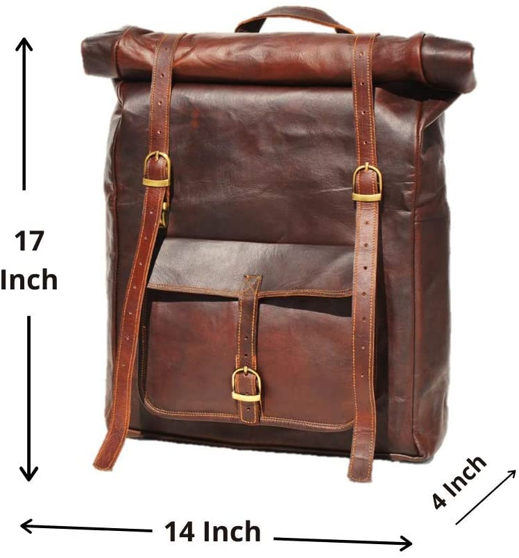 large Leather Backpack with Adjustable strap