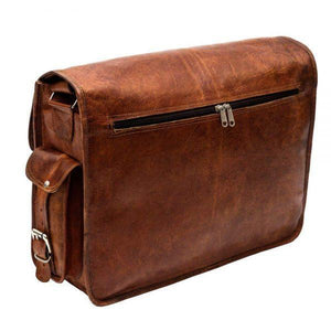 Rustic Vintage Brown Messenger Leather Bag with Laptop Padding