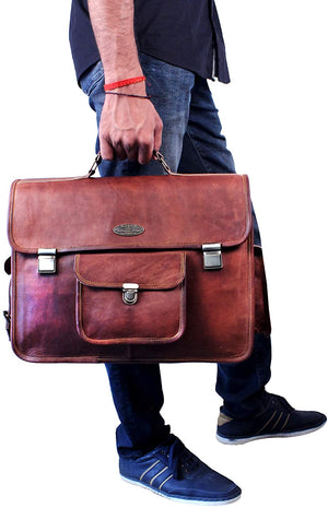 Large Leather Messenger bag with Push Clip and Top Handle