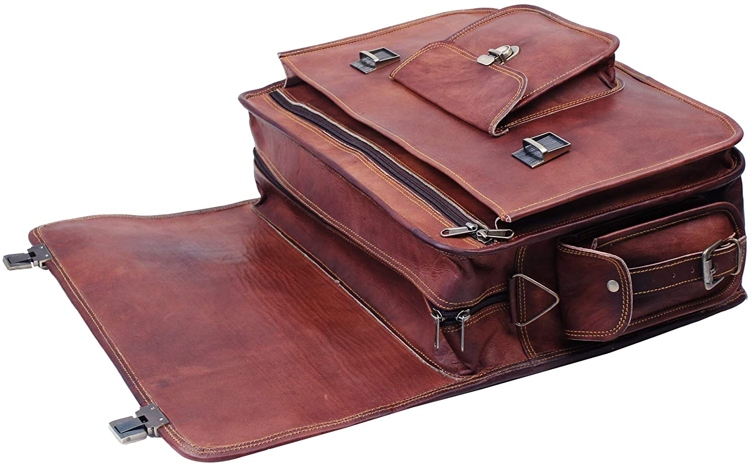 Genuine Leather Push Clip Briefcase bag