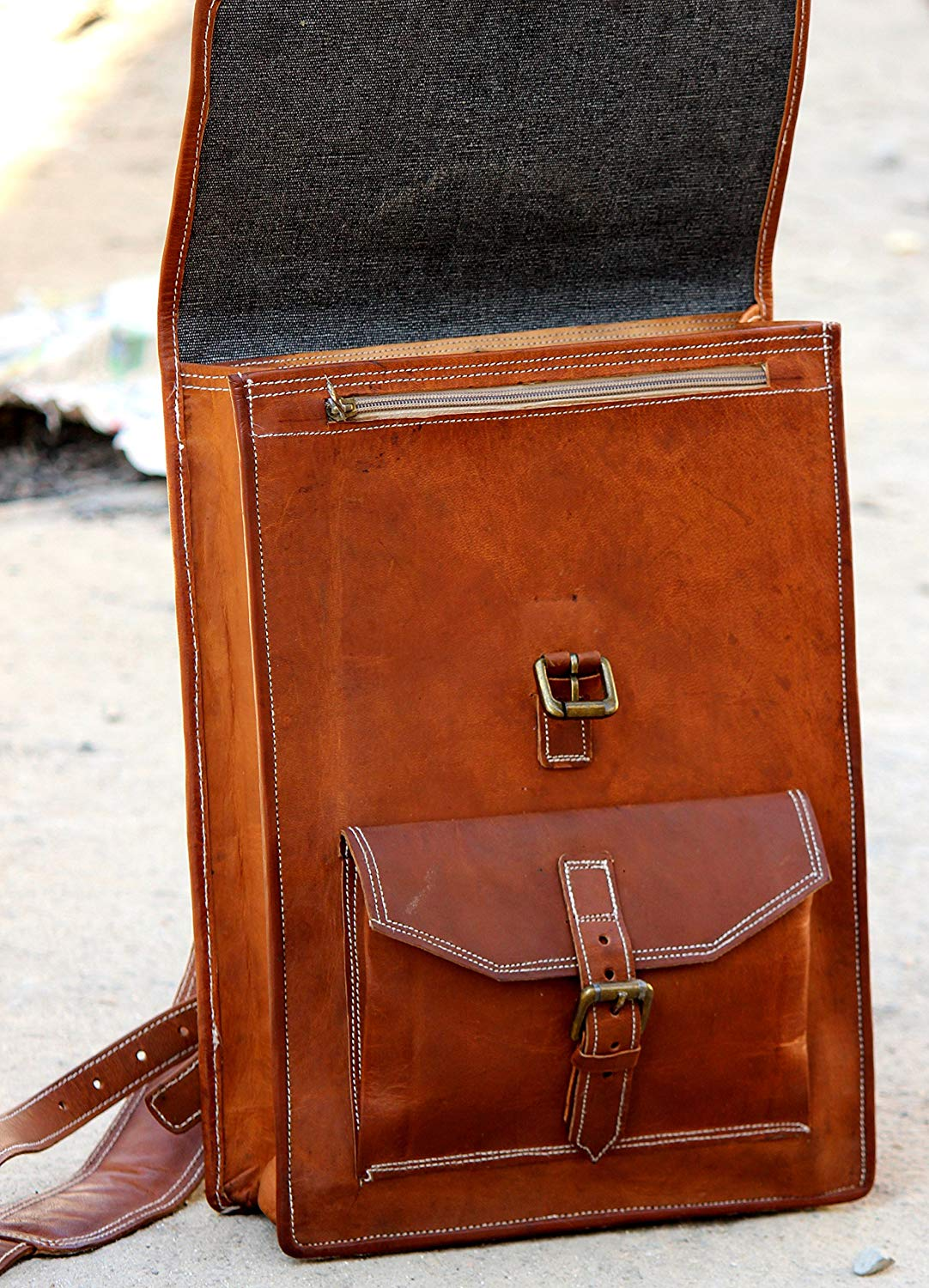 Leather Backpack with Top Handle