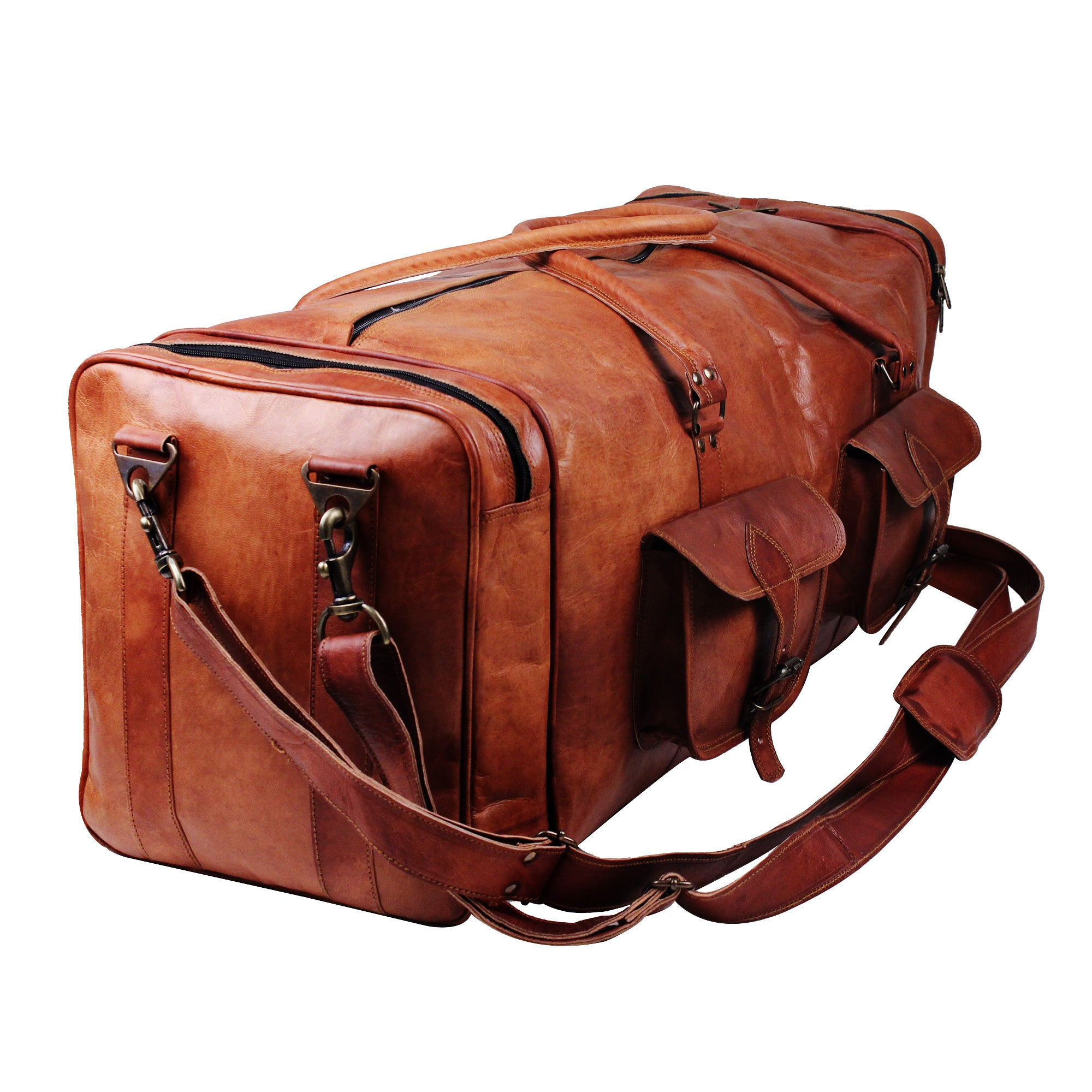 Vintage Leather Sports Duffle Gym Bag