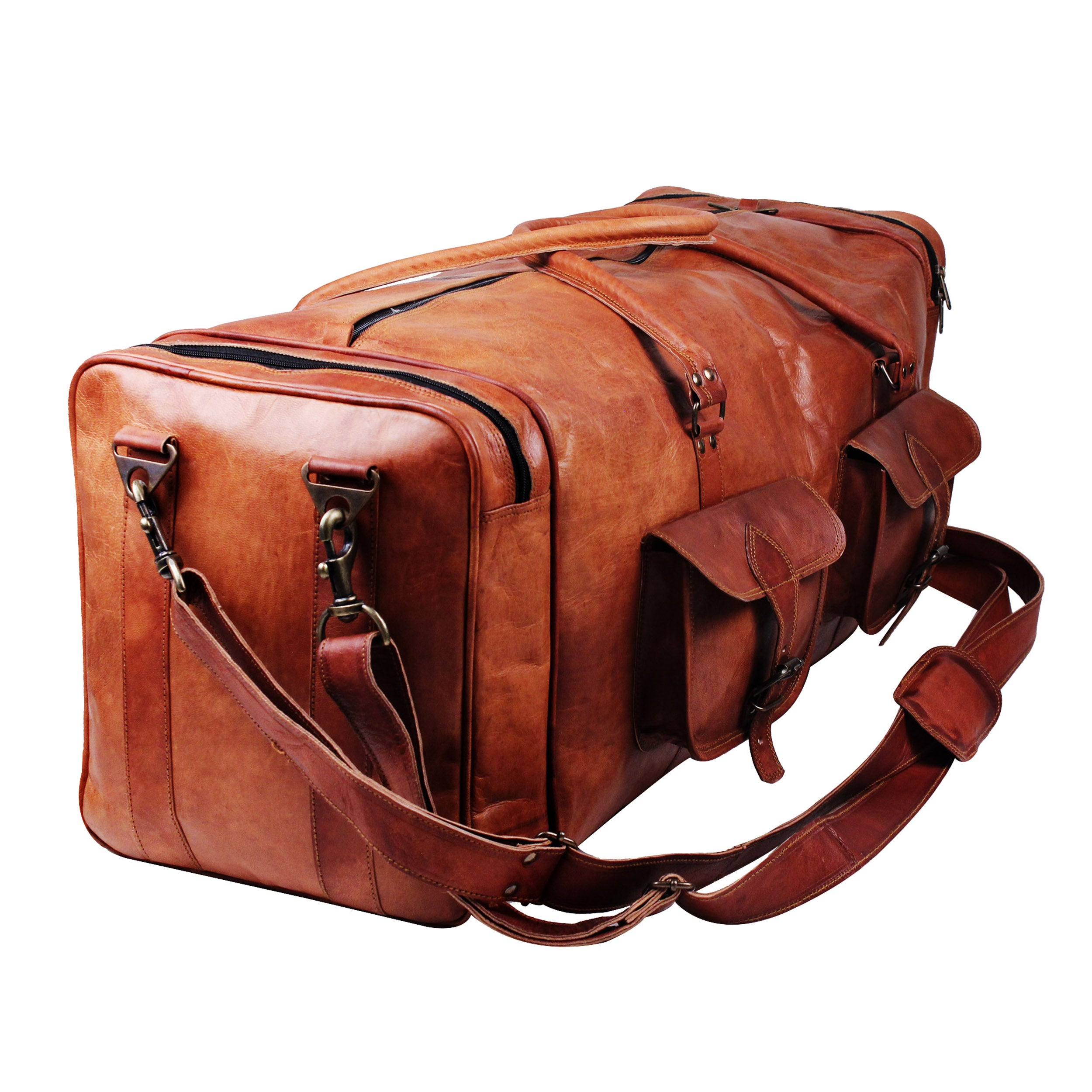 Genuine leather large duffel bag with adjustable strap