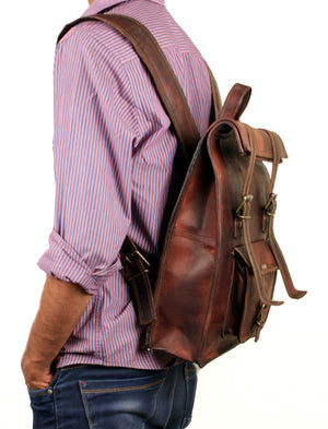 Leather Roll Backpack for traveling hiking college