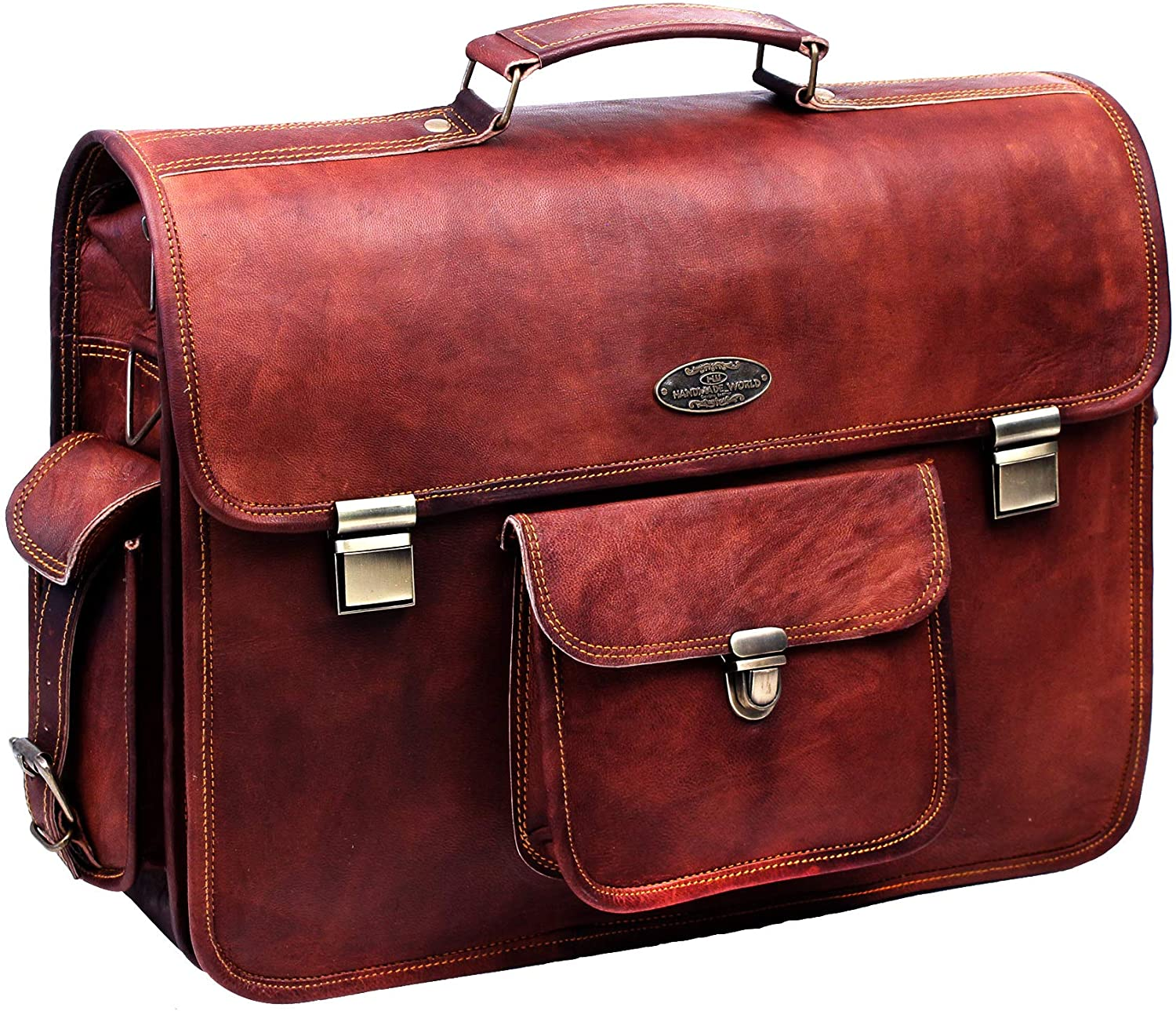 Push Clip Large Rustic Messenger Briefcase Bag