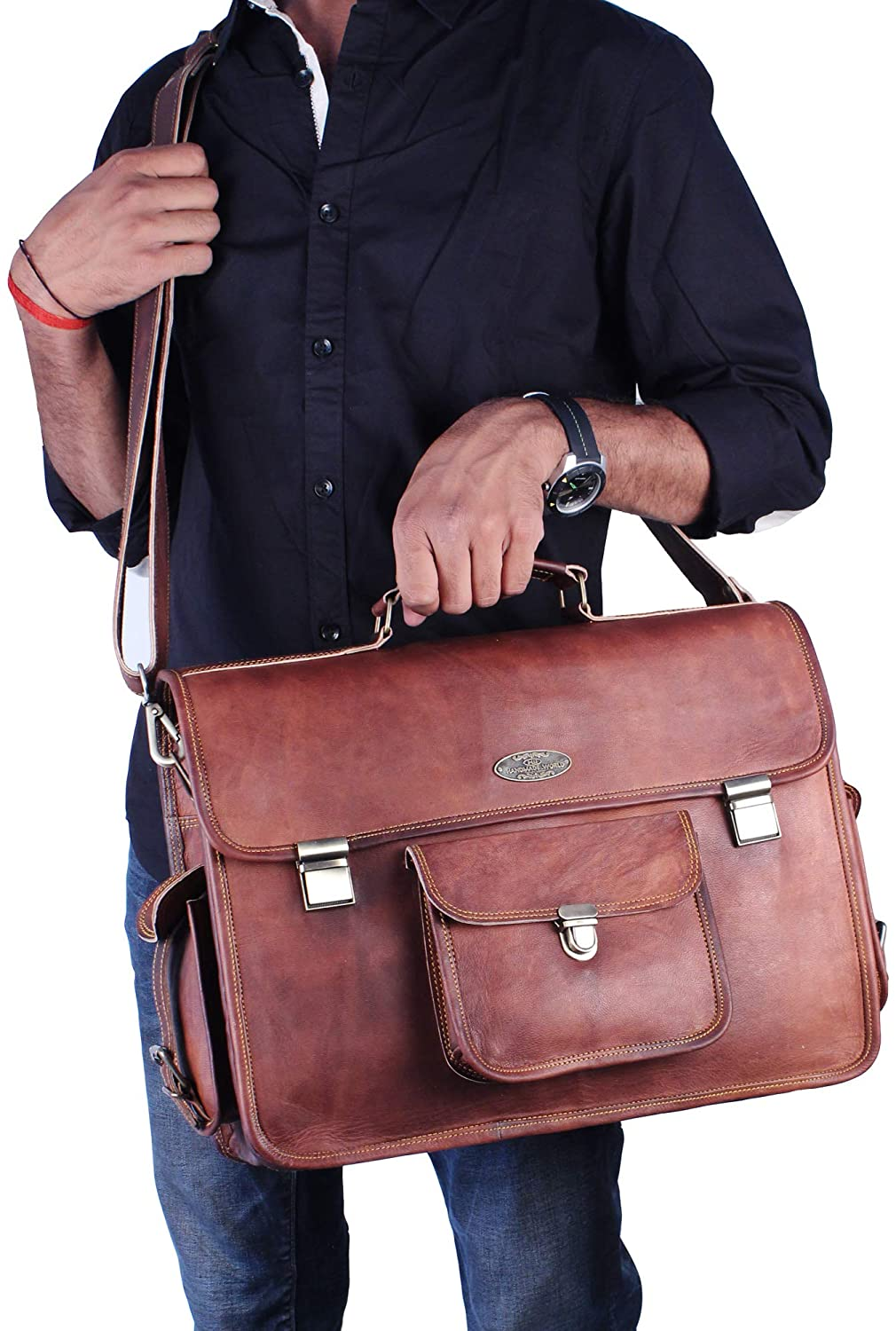 Large Leather Messenger Bag with Adjustable Shoulder Strap by Hulsh
