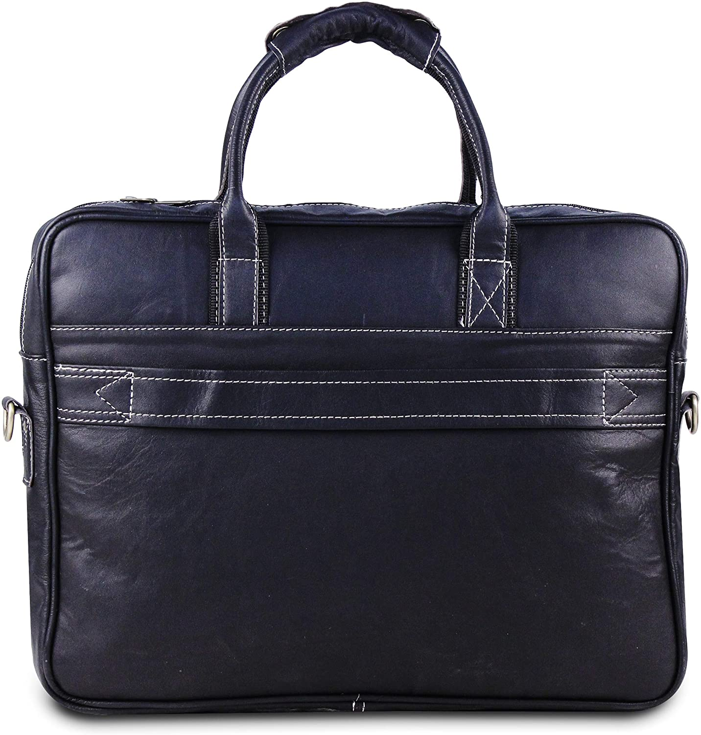 Genuine Leather Black Briefcase Padded Laptop Case- 18 Inch