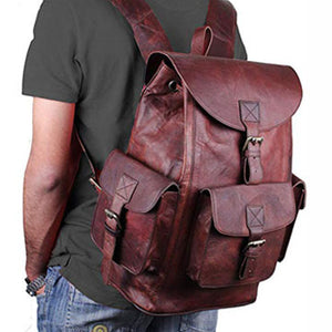 Large Leather Backpack with Padded Shoulder Strap