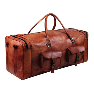 Genuine Leather Brown Square Duffle Bag