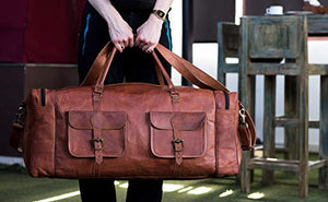 Unisex Large Leather Duffel Bag with Shoulder Strap