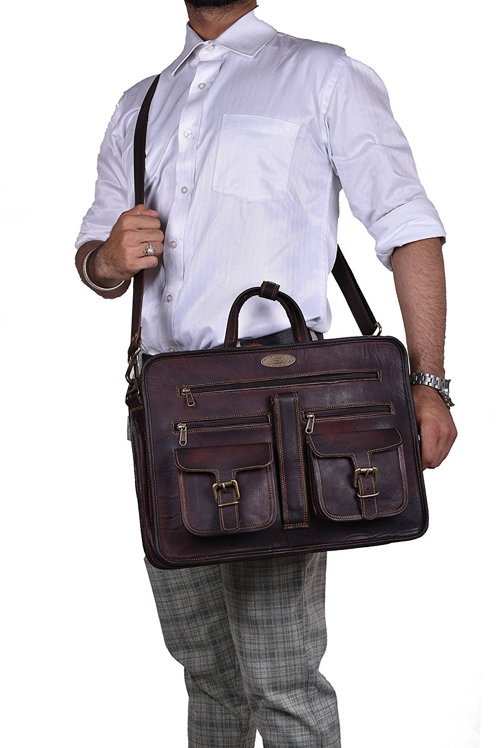 Full Grain Leather Briefcase with Top Handle and Adjustable Strap
