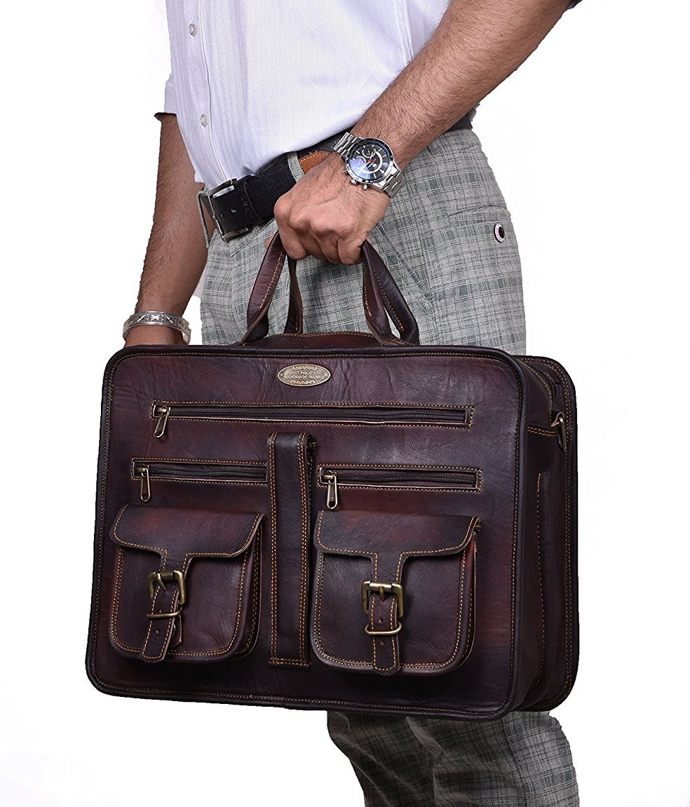 "The Handmade 15.6"" Leather Briefcase Bag with Top Handle by Hulsh"