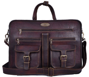 Full Grain Vintage Brown Briefcase Bag by Hulsh
