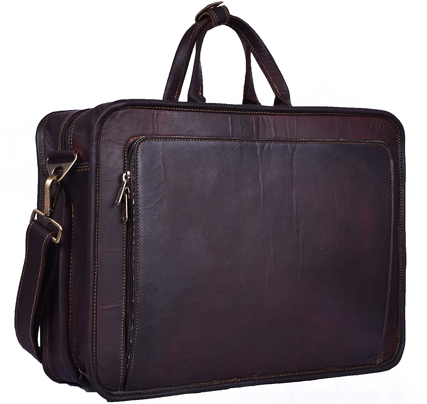 Rustic Brown Briefcase Bag by Hulsh