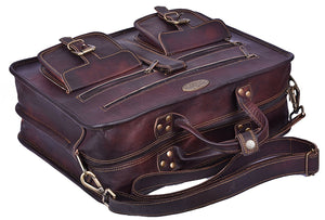 Large Top Handle Messenger Briefcase with Top handle