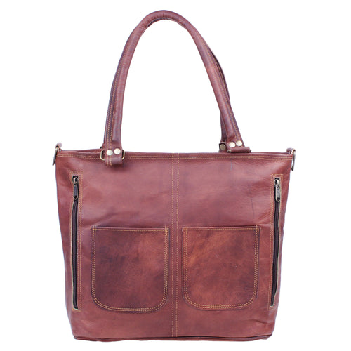 Vintage Dark Brown Women's Leather Tote