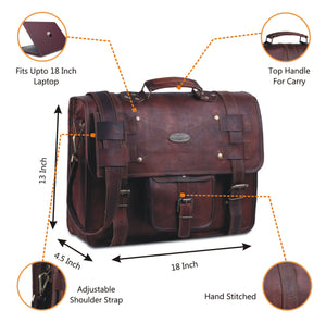 18 inch large leather briefcase bag with top handle and adjustable strap