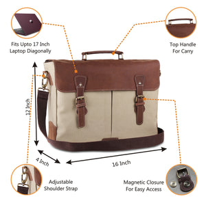 Cream Leather Canvas Messenger Bag with Laptop Padding