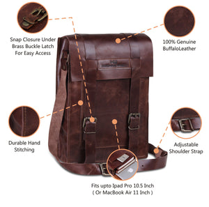 Brown Leather Messenger Bag with Adjustable Strap by Hulsh