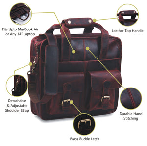 Buffalo Leather Top Handle Briefcase with Adjustable Shoulder Strap