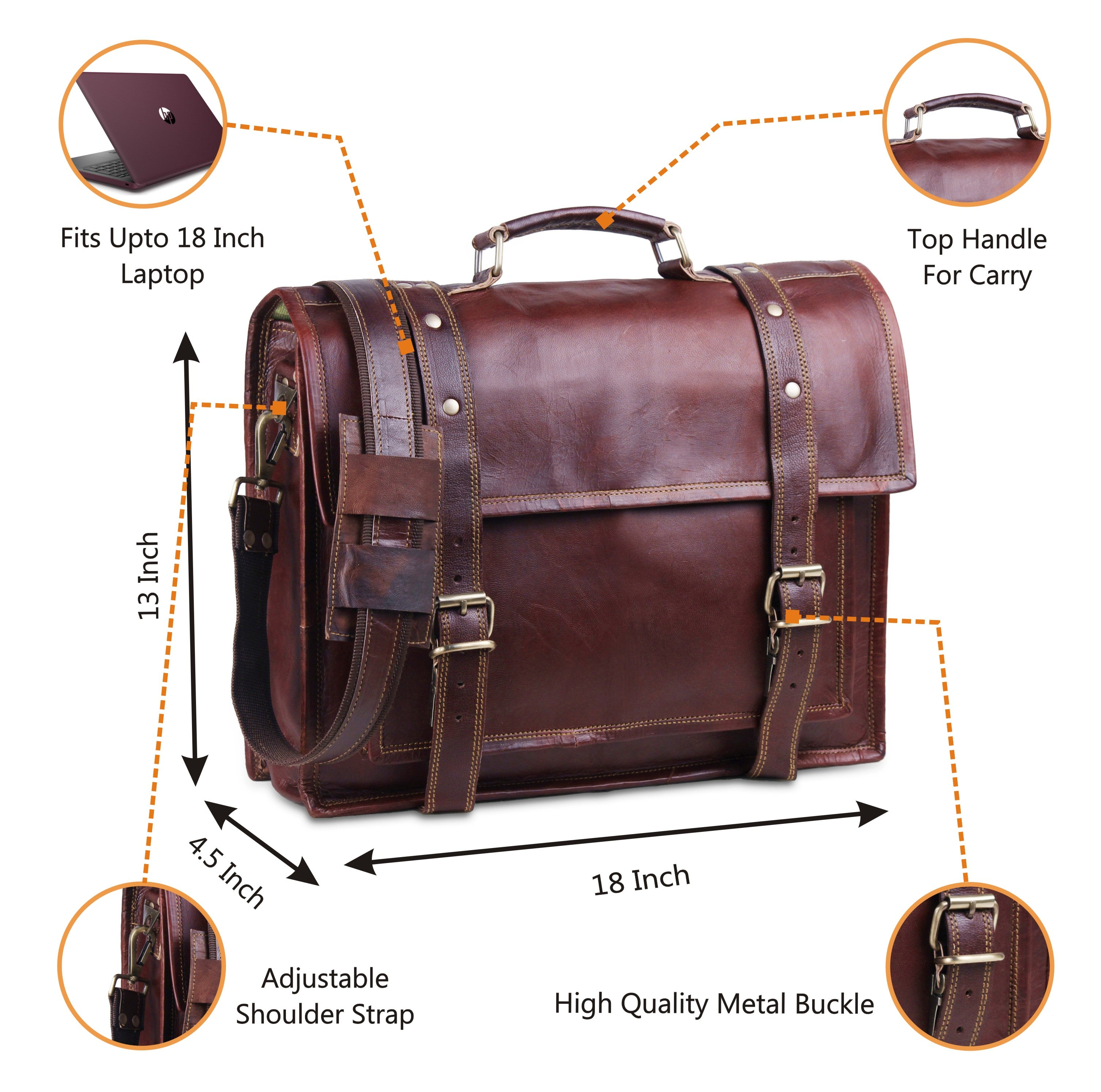 Full Grain Brown Leather Messenger Bag with Adjustable Strap