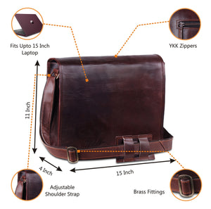 Full Flap Leather Satchel Bag