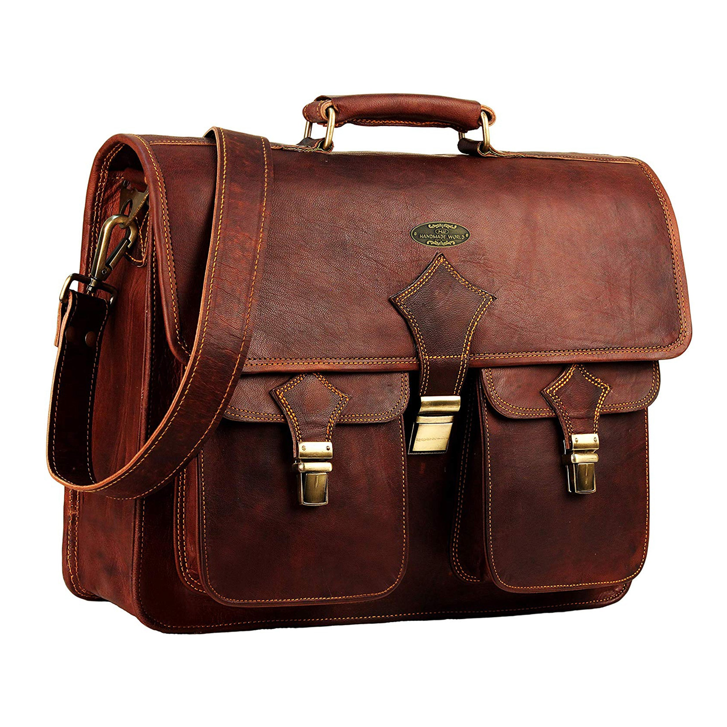 Genuine Leather Full Grain Large Rustic Messenger Briefcase Bag for Men Women