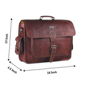 Full Grain Leather Satchel Shoulder bag with Side Pockets