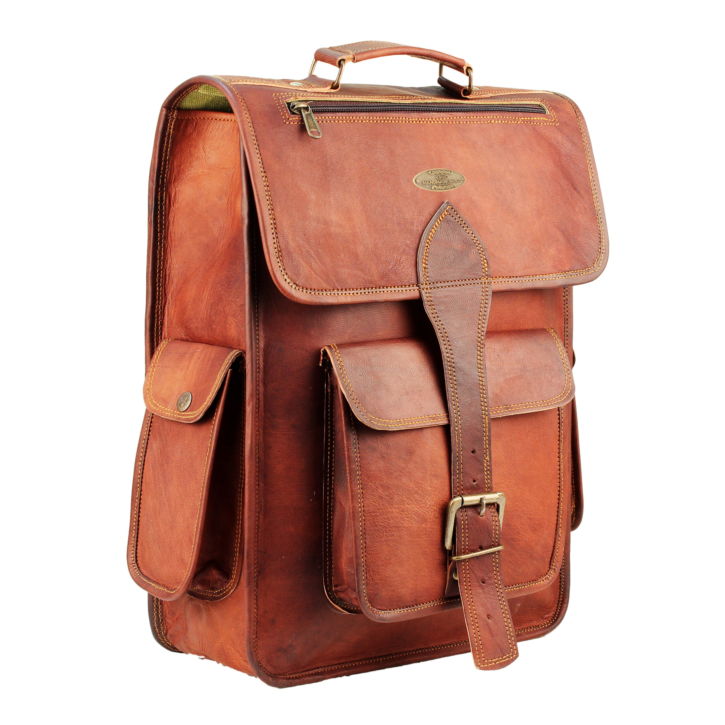 Full Grain Rustic Leather Backpack with Top Handle