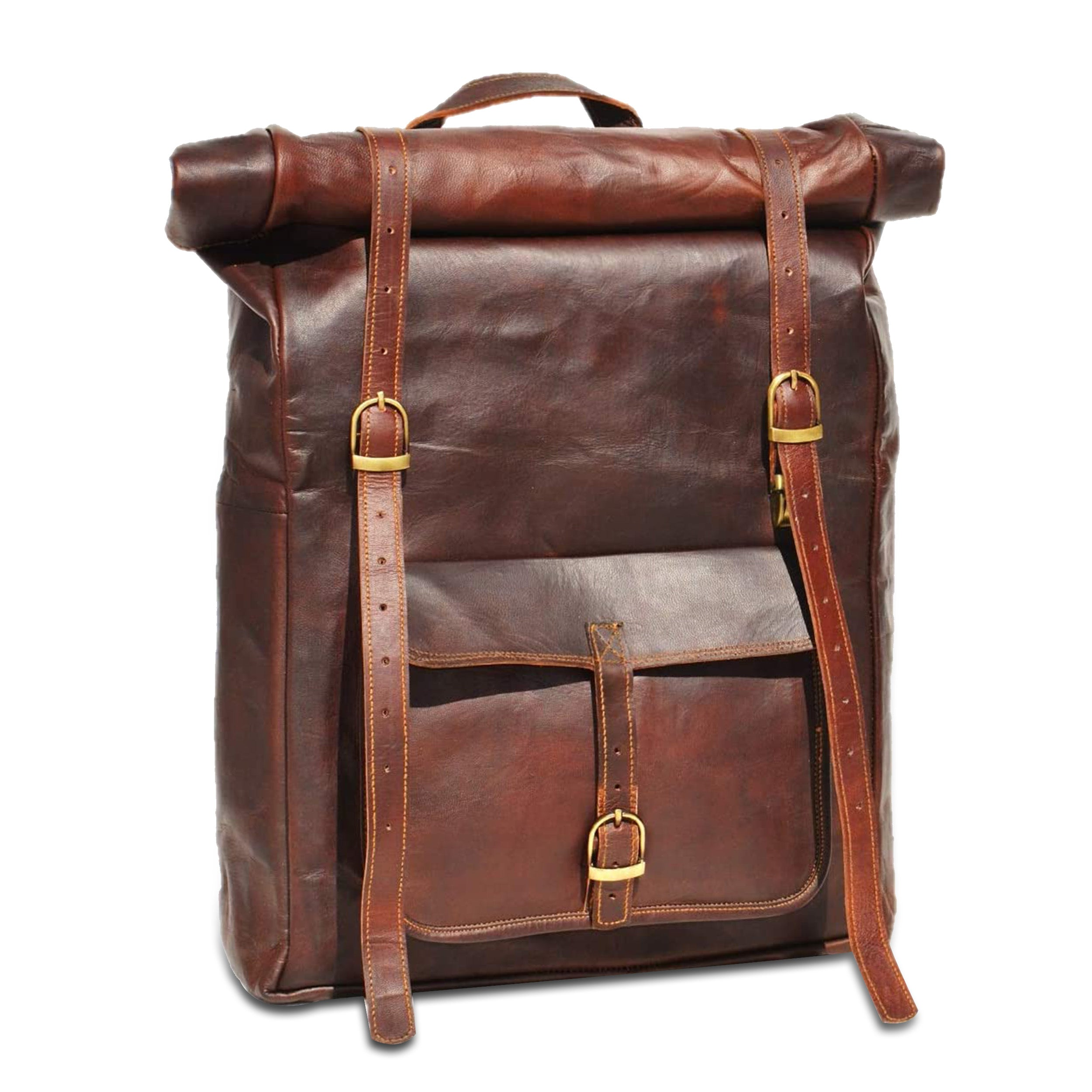 Leather Roll up Backpack with Padded Strap