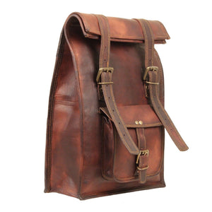 Leather Roll Backpack Bag by Hulsh
