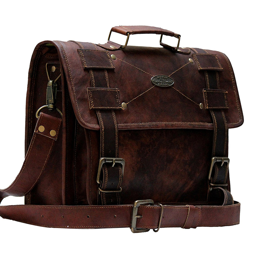 Brown Leather Messenger Bag with Top Handle